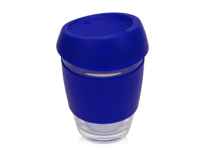 Стеклянный стакан Monday с силиконовой крышкой и манжетой, 350 мл, синий