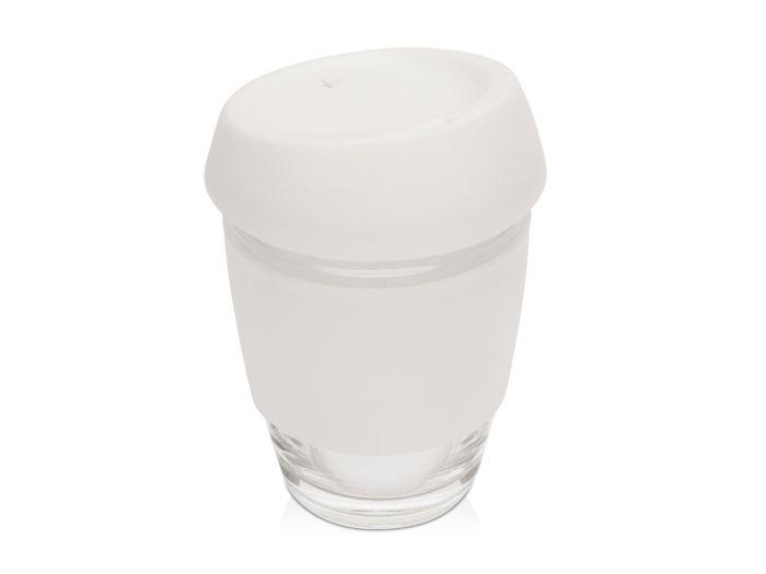 Стеклянный стакан Monday с силиконовой крышкой и манжетой, 350 мл, белый