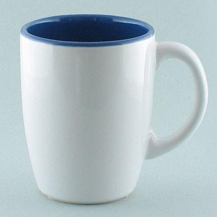 Кружка керамическая 260 мл (тюльпан), снаружи белая, изнутри синяя