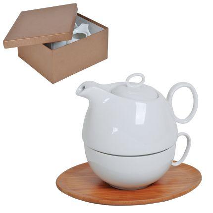 """Набор """"Мила"""": чайник и чайная пара в подарочной упаковке, 500 мл и 300 мл, фарфор, бамбук"""