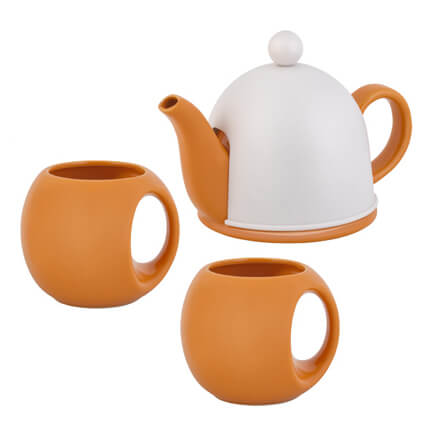 """Набор чайный """"СлуЧАЙный восторг"""": чайник и 2 кружки, оранжевый с белым колпаком"""