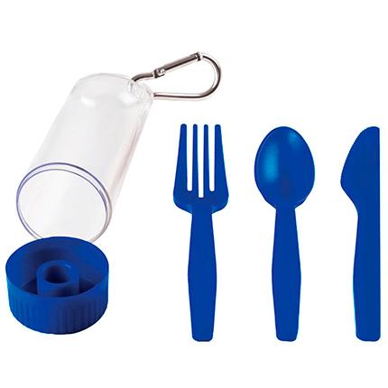 """Набор """"Pocket"""": ложка, вилка, нож в футляре с карабином, цвет синий"""