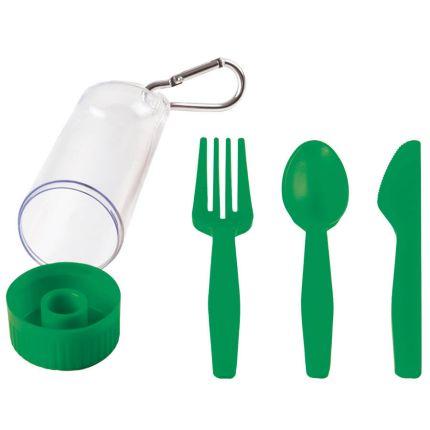 """Набор """"Pocket"""": ложка, вилка, нож в футляре с карабином, цвет зелёный"""