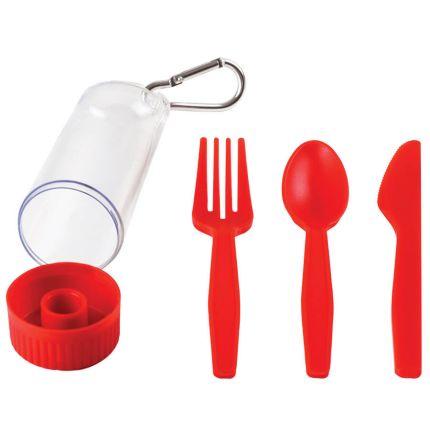 """Набор """"Pocket"""": ложка, вилка, нож в футляре с карабином, цвет красный"""