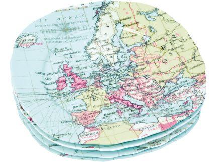 "Набор из 4-х тарелок ""Карта мира"""