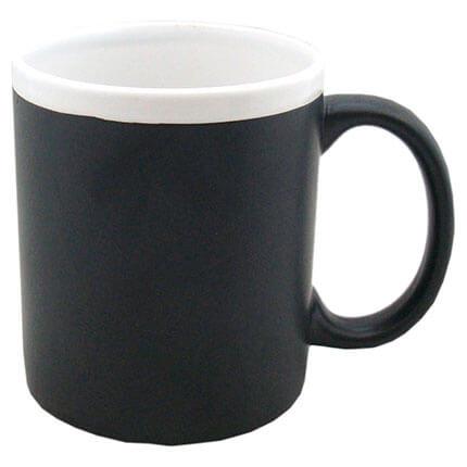 """Кружка керамическая с покрытием для рисования мелом """"Да Винчи"""", 320 мл, корпус чёрный, ободок белый"""
