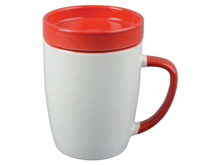 """Кружка с крышкой """"Мак-Кинни"""", 320 мл, цвет белый/красный"""