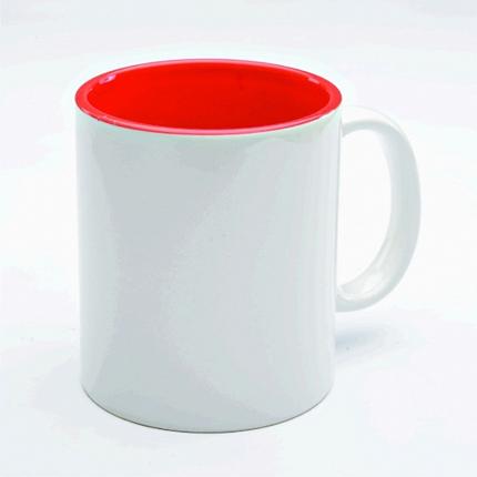 Кружка керамическая для сублимации, объём 300 мл, снаружи белая, внутри красная