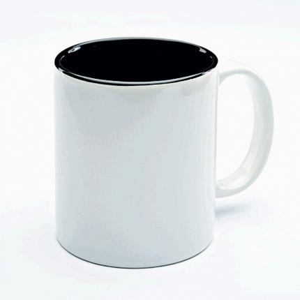 Кружка керамическая для сублимации, объём 300 мл, снаружи белая, внутри черная