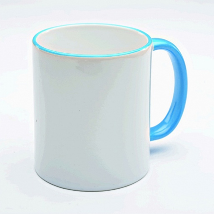 Кружка керамическая для сублимации, объём 300 мл, снаружи белая, ручка и верхняя каемка светло-синяя