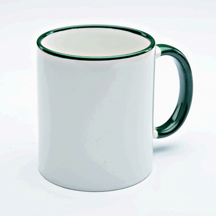 Кружка керамическая для сублимации, объём 300 мл, снаружи белая, ручка и верхняя каемка темно-зеленая
