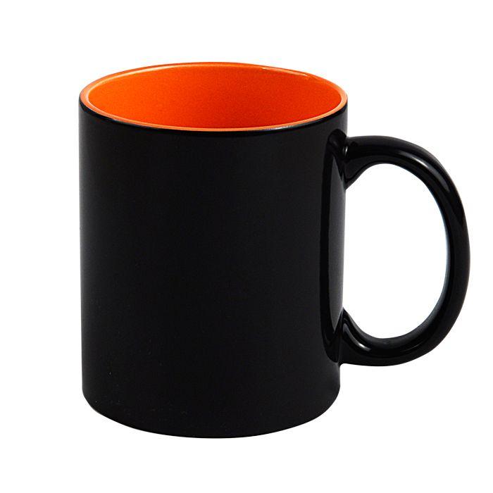 "Кружка для сублимации ""Хамелеон"", 330 мл, стандарт, снаружи черная, внутри оранжевая"