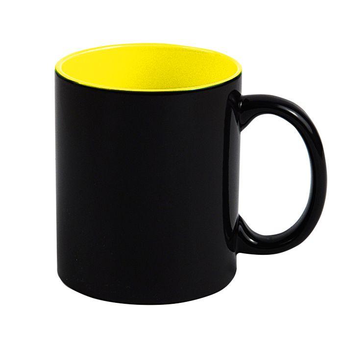 "Кружка для сублимации ""Хамелеон"", 330 мл, стандар, снаружи черная, внутри жёлтая"