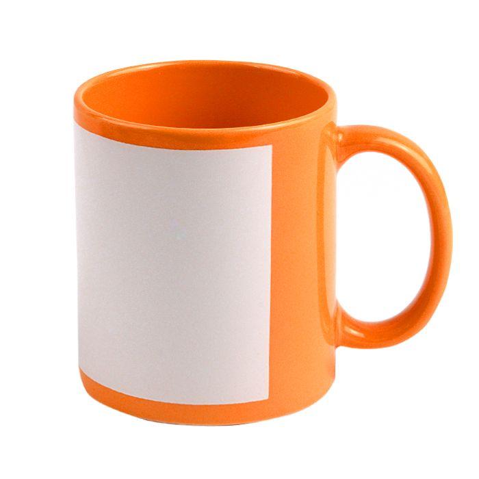 Кружка для сублимации керамическая с белым полем для печати (8,2х17см), 330 мл, стандарт, оранжевая