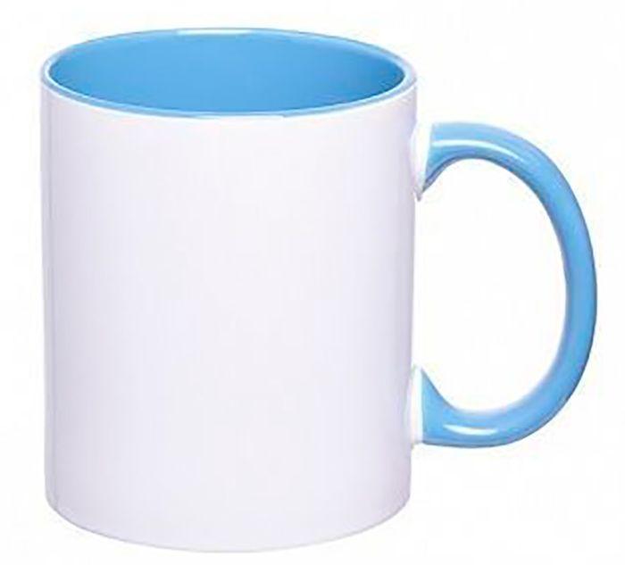 Кружка керамическая для сублимации, объём 330 мл, премиум, снаружи белая, внутри и ручка голубого цвета