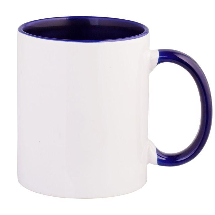 Кружка керамическая для сублимации, объём 330 мл, премиум, снаружи белая, внутри и ручка тёмно-синего цвета