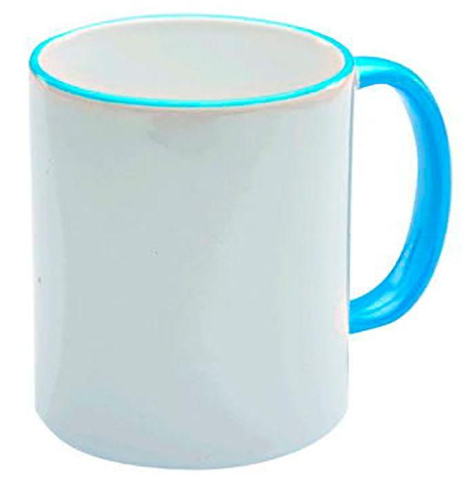 Кружка керамическая для сублимации, объём 330 мл, премиум, снаружи белая, ободок и ручка голубые