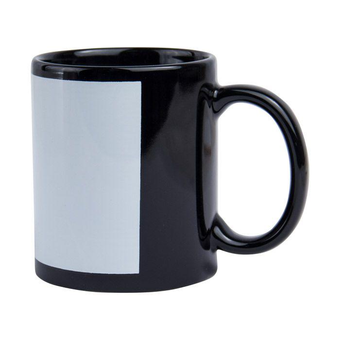 Кружка для сублимации керамическая с белым полем для печати (8,2х17см), 330 мл, стандарт, чёрная