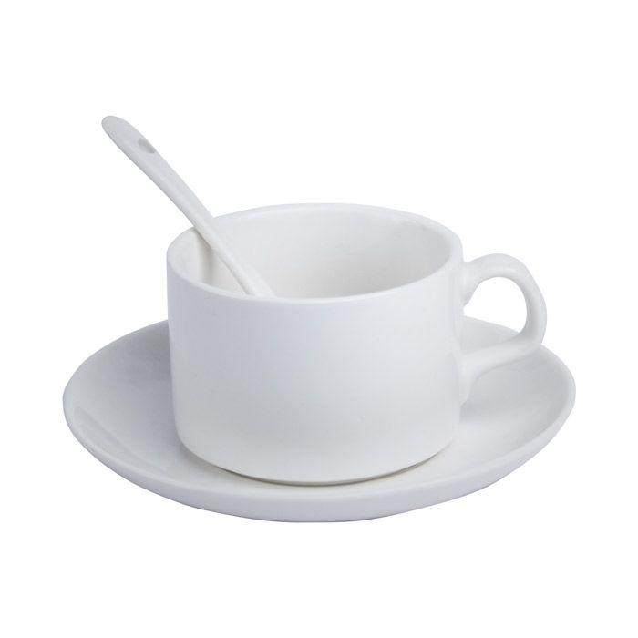 Кружка для сублимации керамическая, 110 мл, кофейная с блюдцем и ложкой, белая