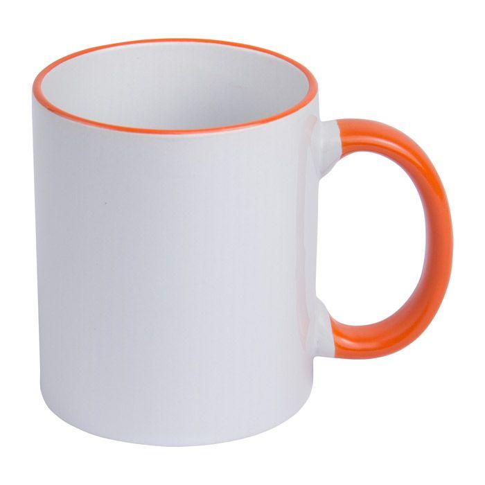 Кружка для сублимации керамическая, 330 мл, стандарт, белая, ободок и ручка оранжевые