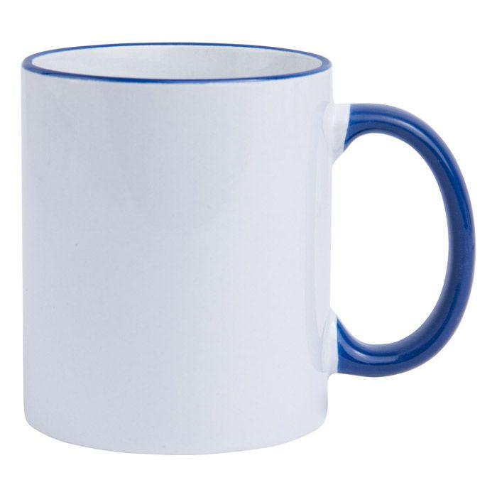 Кружка для сублимации керамическая, 330 мл, стандарт, белая, ободок и ручка синие