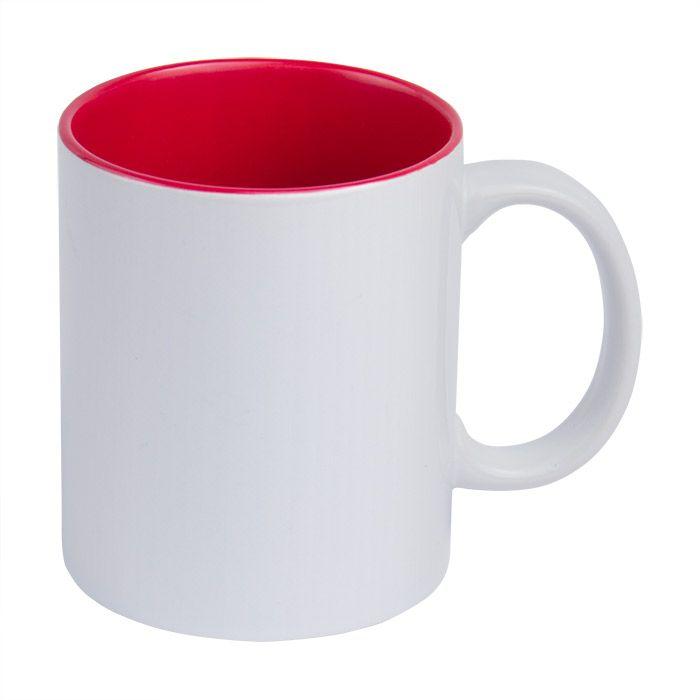 Кружка для сублимации керамическая, 330 мл, стандарт, белая, внутри красная