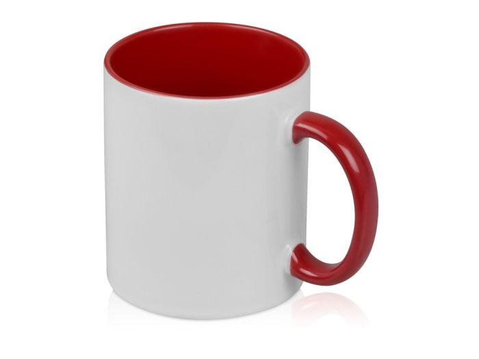 """Кружка """"Sublime Color"""" для сублимации, 320 мл, снаружи белая, внутри и ручка красного цвета"""