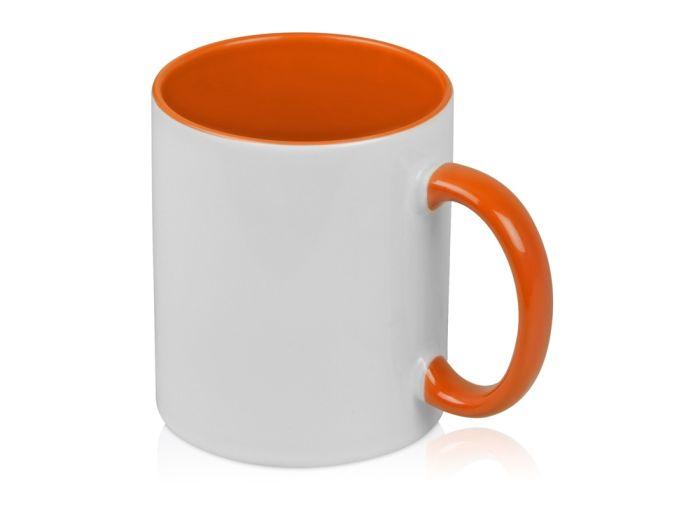 """Кружка """"Sublime Color"""" для сублимации, 320 мл, снаружи белая, внутри и ручка оранжевого цвета"""