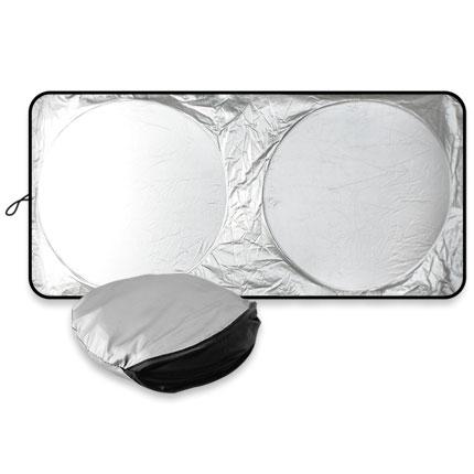 Складной солнцезащитный экран для автомобиля, цвет серебряный с чёрным