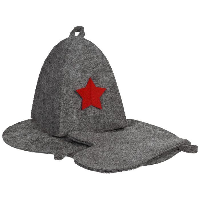Банный набор General: шапка, рукавица и коврик