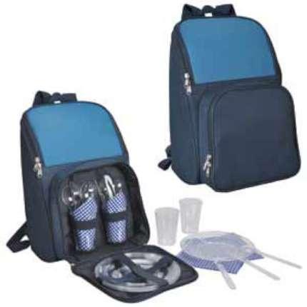 """Набор для пикника на 4 персоны в рюкзаке """"Поход"""": термоотсек, столовые приборы, тарелки, стаканы и салфетки"""