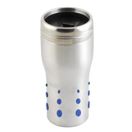 Термостакан (кружка), металл, 0,4 л, с силиконовыми вставками, цвет синий