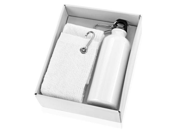 "Набор ""Фитнес"": фляжка на 500 мл и полотенце 50х31 см, цвет белый"