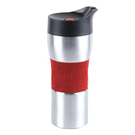 """Термостакан вакуумный (кружка) """"Уберто"""" с двойными стенками из нержавеющей стали и кнопкой, 370 мл, серебряный корпус с красной силиконовой манжетой"""