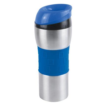 """Термостакан вакуумный (кружка) """"Донато"""" с двойными стенками из нержавеющей стали, 370 мл, цвет силиконовой манжеты и верхней части крышки синий"""