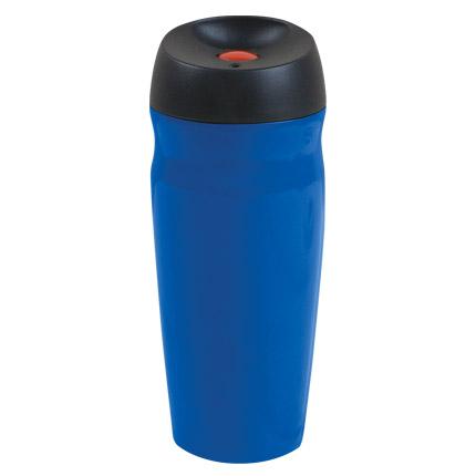 """Термостакан вакуумный (кружка) """"Коррадо"""" с двойными стенками из нержавеющей стали, 370 мл, кнопка красная, корпус синий"""