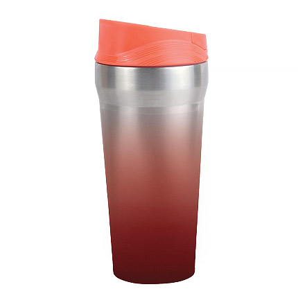"""Термостакан (кружка) """"РЭД ФОКС"""", металл, 420 мл, с резиновой присоской на дне, цвет красный с градиентом"""