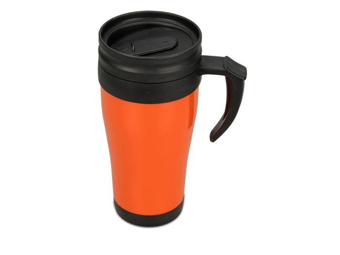 "Термокружка ""Silence"", объём 350 мл, цвет чёрный с оранжевым"