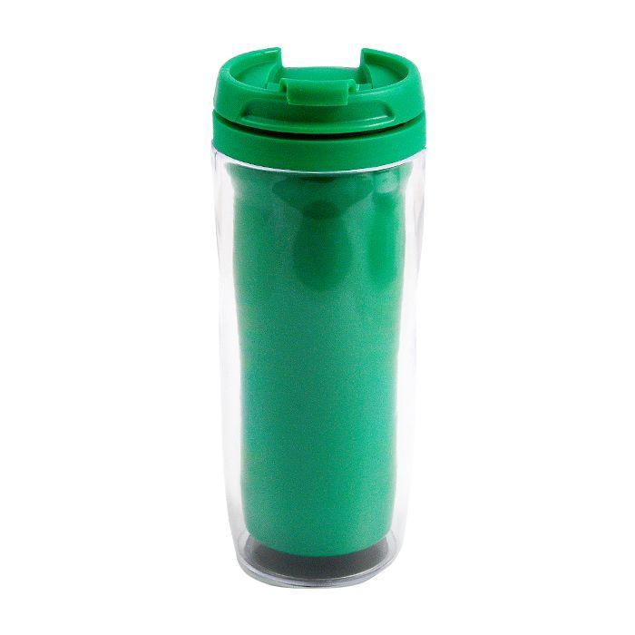 """Термостакан (кружка) """"Фанат"""" под полиграфическую вставку, 350 мл, пластик, цвет зелёный"""