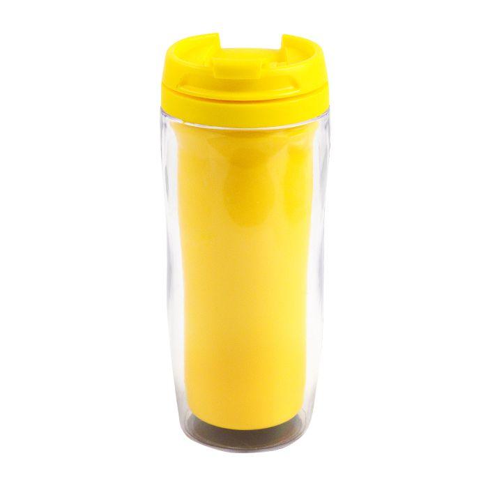 """Термостакан (кружка) """"Фанат"""" под полиграфическую вставку, 350 мл, пластик, цвет жёлтый"""