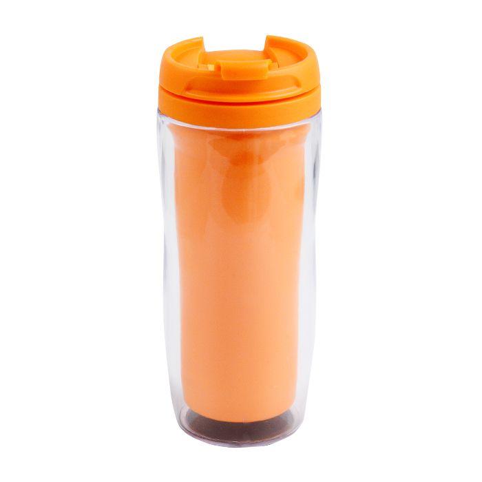 """Термостакан (кружка) """"Фанат"""" под полиграфическую вставку, 350 мл, пластик, цвет оранжевый"""