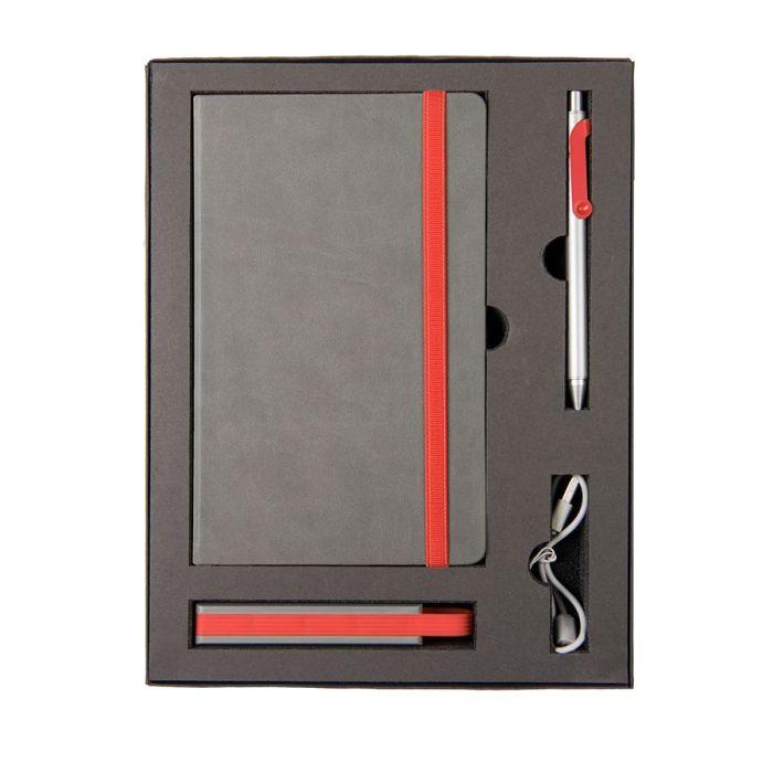 Набор FANCY: универсальное зарядное устройство(2200мAh), блокнот и ручка в подарочной коробке, красный