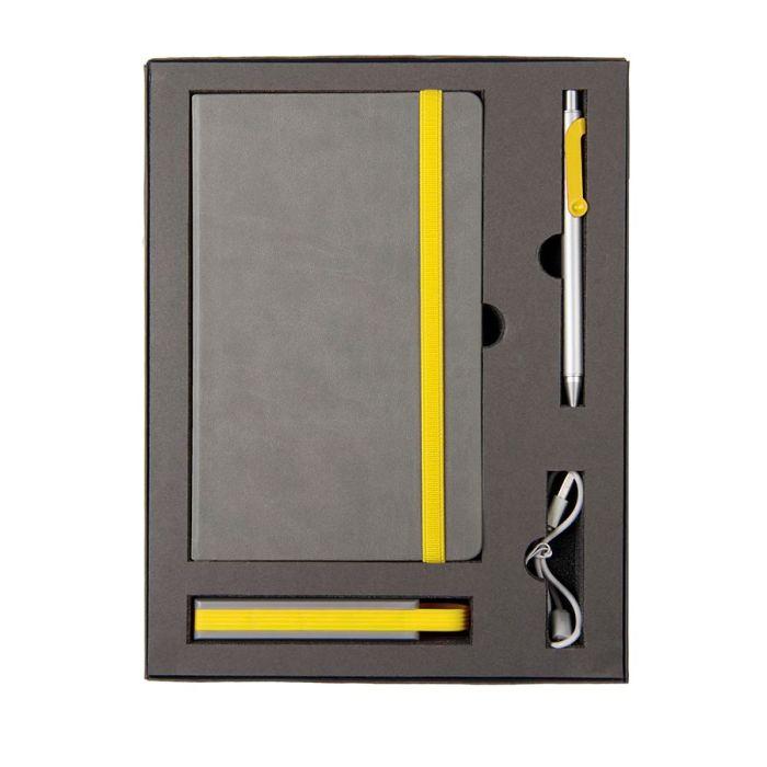 Набор FANCY: универсальное зарядное устройство(2200мAh), блокнот и ручка в подарочной коробке, жёлтый