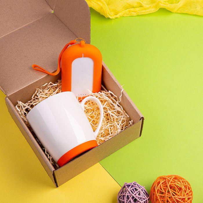 Набор подарочный MATISSE`TEAS: кружка (400мл), зарядное устройство (6000 mAh), коробка, стружка, оранжевый
