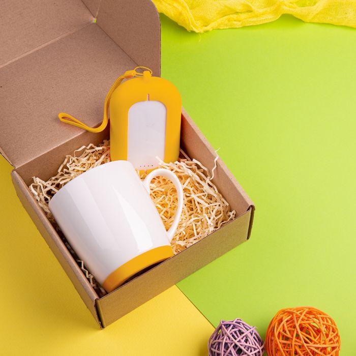 Набор подарочный MATISSE`TEAS: кружка (400мл), зарядное устройство,(6000 mAh)коробка, стружка, желтый