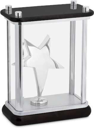 """Статуэтка """"Звезда"""" в стекле, Linea del Tempo, (цвет серебряный, чёрный) (A04SBL)"""