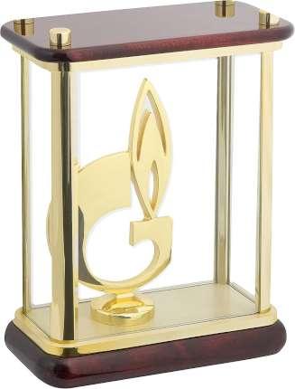 """Статуэтка """"Символ газа"""" в стекле, Linea del Tempo, (цвет коричневый, золотой) (G04GBR)"""