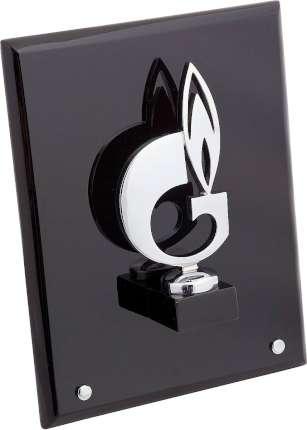 """Плакетка """"Символ газа"""" на деревянной раме, Linea del Tempo, (цвет чёрный, серебряный) (G02SBL)"""