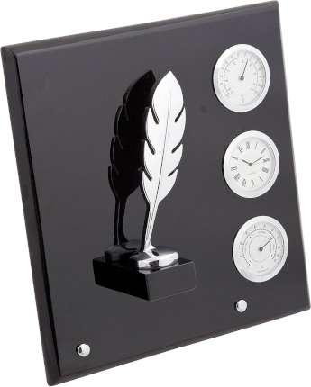 """Плакетка """"Перо"""", часы, термометр, гигрометр, Linea del Tempo, (цвет чёрный, серебряный) (P03SBL)"""