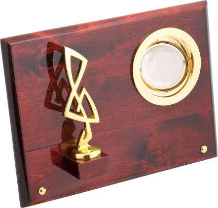 """Плакетка """"Скрипичный ключ"""" с глобусом, Linea del Tempo, (цвет коричневый, золотой) (S01GBR)"""